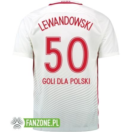 09adefa231f3 Polska koszulka reprezentacji 2017 LEWANDOWSKI 50 GOLI DLA POLSKI ...